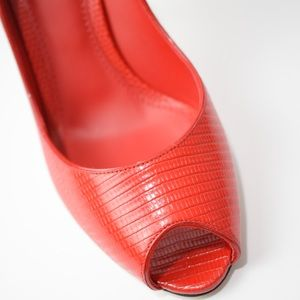 Red Lizard Skin Pumps